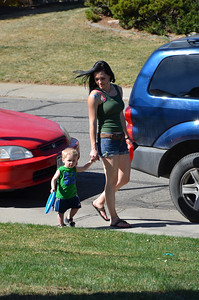 Kelli and Aiden coming home from playing at the park