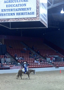 At the Registered Paint Horse Show, Western Equitation Novice Rider competition.  Horse shows go on all day for all three weeks of the rodeo.