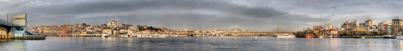 This is 3/4 of an emerging panorama from one end of the Galata Bridge, Istanbul, Turkey, left, to the other. This photo will expand to cover the horizon off to the right.