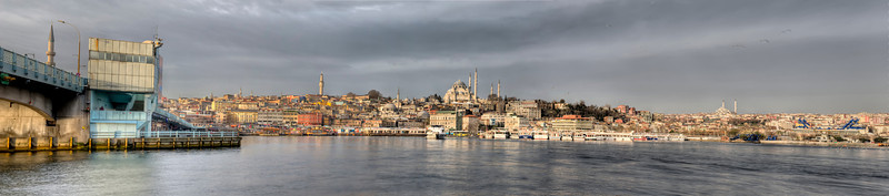 This is 3/8 of an emerging panorama from one end of the Galata Bridge, Istanbul, Turkey, left, to the other. This photo will expand to cover the horizon off to the right as time goes on.
