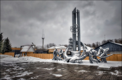 Monument to firefighters who died as a result of battling the flames at Chernobyl reactor number four, Chernobyl, Ukraine.