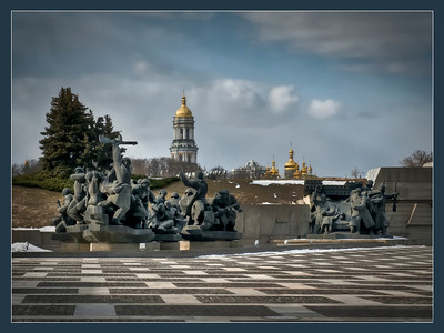 War and churches, Kyiv, Ukraine.