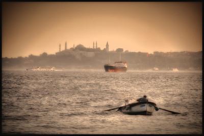 The Bosphorus Strait and the Topkapi Palace, Istanbul, Turkey.