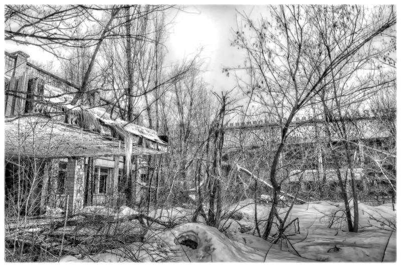 Buildings inside the 30 kilometer Chernobyl exclusion zone, Pripyat, Ukraine.