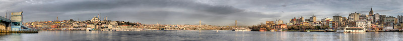 This is 7/8 of an emerging panorama from one end of the Galata Bridge, Istanbul, Turkey, left, to the other. This photo will expand to cover the horizon off to the right.