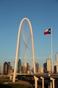 Sunset at Margaret Hunt Hill Bridge, Dallas, Texas.