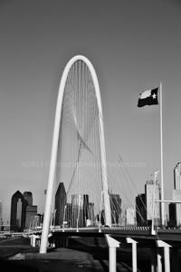 Sunset black and white, Margaret Hunt Hill Bridge, Dallas, Texas
