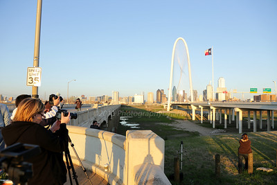 Photographers waiting for sunset at Margaret Hunt Hill Bridge, Dallas, Texas.