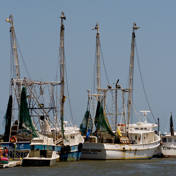Fishing boats moored on the shores of the Savannah River. Tybee Island, GA<br /> <br /> GA-080627-0045-1