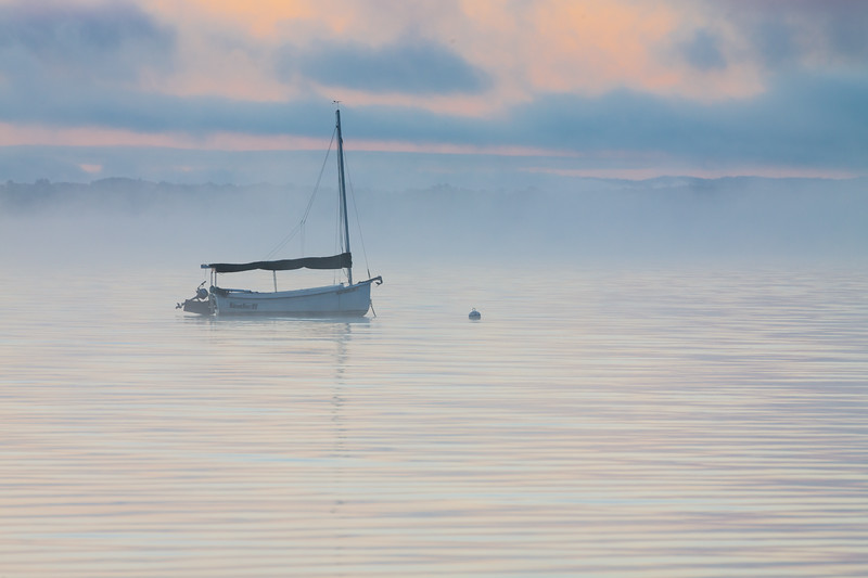 A fog bank moves into the waters of Old Mission Harbor. Old Mission, MI<br /> <br /> MI-111002-0003
