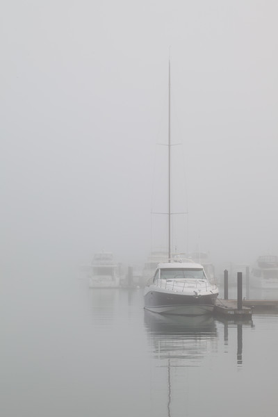 Heavy fogs obscures the view of the entrance of Burnham Park Harbor. Chicago, IL<br /> <br /> IL-110519-0012