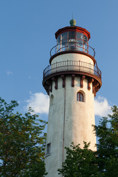 Afternoon light shines on the Grosse Point Lighthouse tower. Evanston, IL<br /> <br /> IL-090711-0038