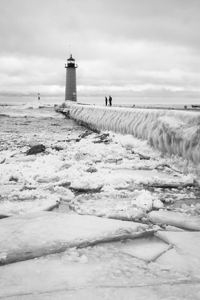 Ice flows stand where once the lake met the beach. Kenosha, WI<br /> <br /> WI-100124-0037-2