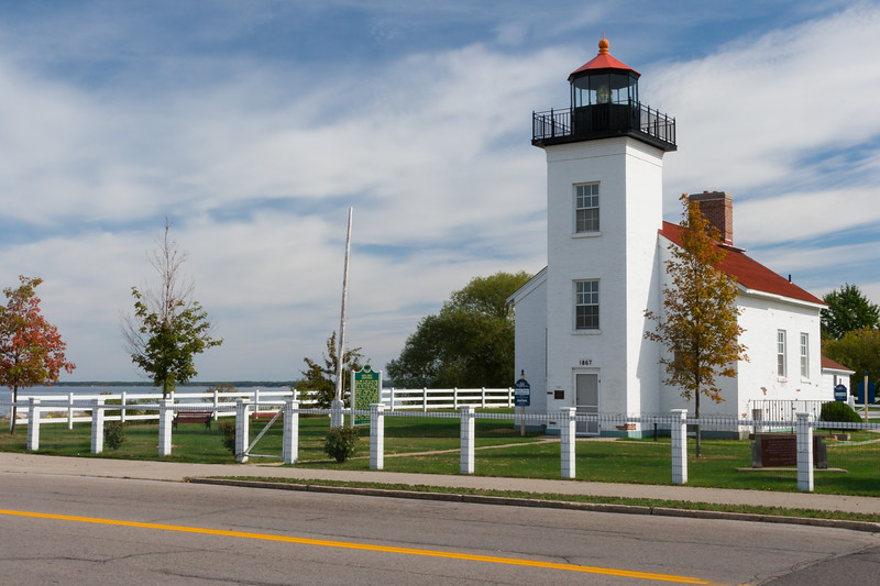 Street view of Sand Point Lighthouse. Escanaba, MI<br /> <br /> MI-080925-0042