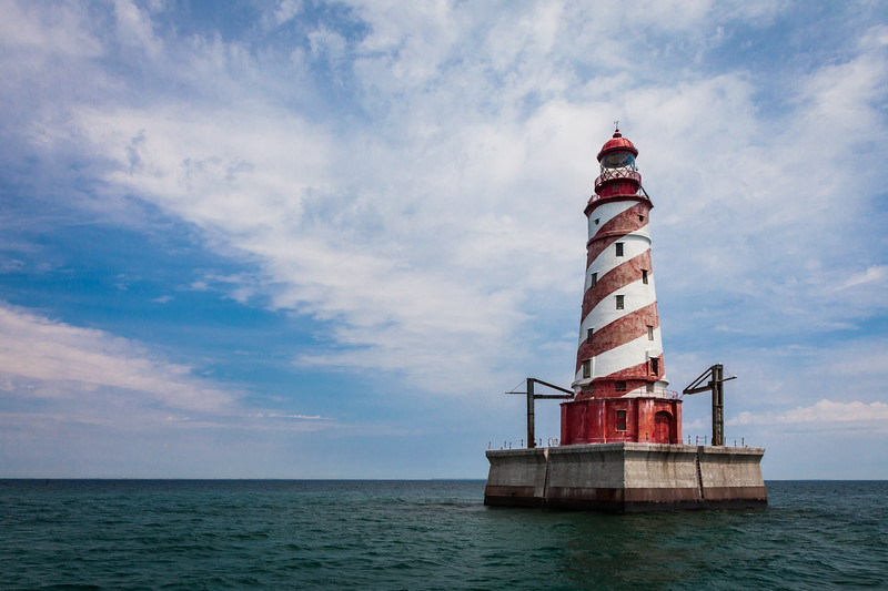 The White Shoal Light, stands on Lake Michigan not far from the Mackinaw Bridge. Its striking candy-cane colors makes this tower one of the most attractive in the area. Lake Michigan<br /> <br /> MI-110707-0234