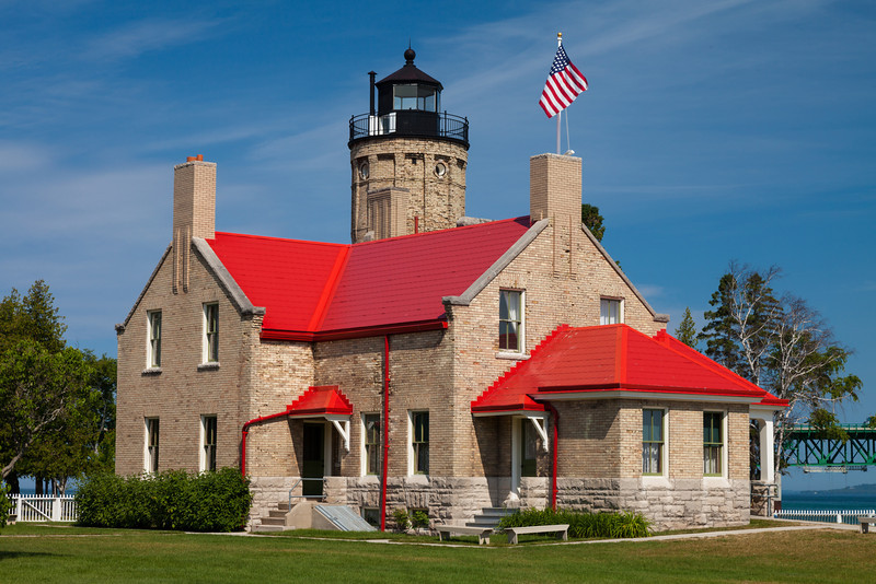 The Old Mackinac Point Light once guided the way through the Straits of Mackinac. Once the bridge was built, the lights on the bridge made the lighthouse obsolete. Mackinaw City, MI<br /> <br /> MI-110707-0106