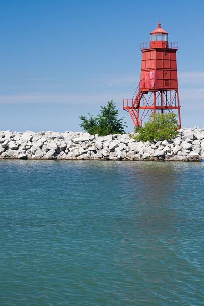 Racine breakwater light in summer. Racine, WI<br /> <br /> WI-080811-0225