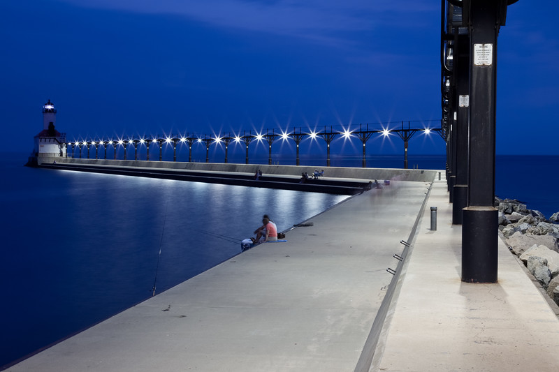 Warm summer night at the Michigan City Pier Light. Michigan City, IN<br /> <br /> IN-090627-0076
