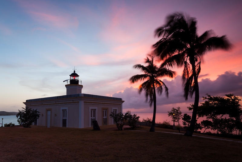 A spectacular sunset sky act as a backdrop to the Punta Mulas Lighthouse. Vieques, PR<br /> <br /> PR-090811-0148