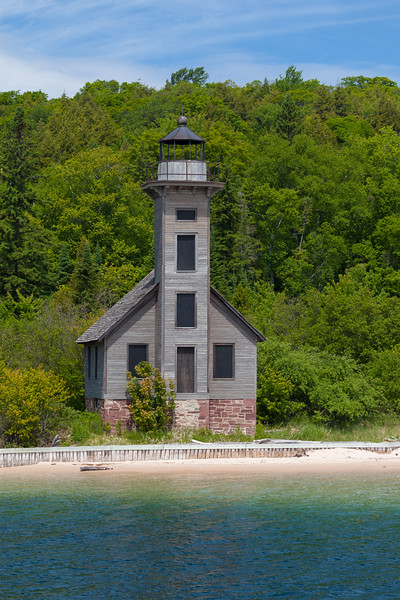 The weathered wooden structure of the Grand Island East Channel Light has stood against the elements since 1868. Grand Island, MI<br /> <br /> MI-090622-0118