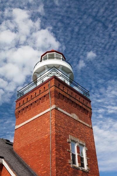 Clouds over the Big Bay Lighthouse tower. Big Bay, MI<br /> <br /> MI-110704-0100