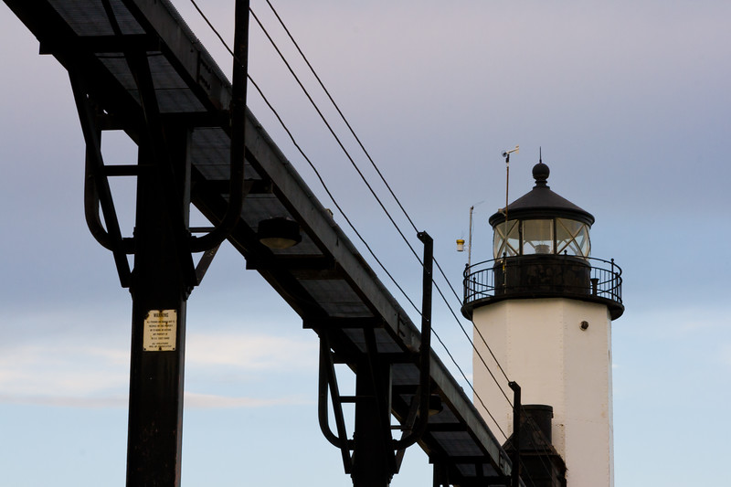 Close up of the ligh tower at Michigan City. Michigan City, IN<br /> <br /> IN-081026-0035