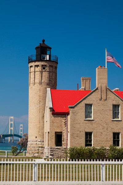The Old Mackinac Point Light once guided the way through the Straits of Mackinac. Once the bridge was built, the lights on the bridge made the lighthouse obsolete. Mackinaw City, MI<br /> <br /> MI-090623-0006