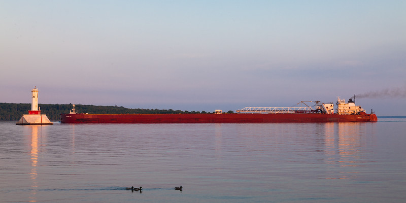 The Presque Isle cargo ship crosses the waters of the Straits of Mackinac. Straits of Mackinac, MI<br /> <br /> MI-090623-0041