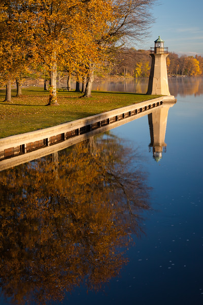 Morning light shines on the shores of the Fox River as it passes through the Fabyan Forest Preserve. Geneva, IL<br /> <br /> IL-111104-0051