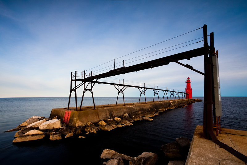 The Algoma Light watches over the peaceful Lake Michigan waters. Algoma, WI<br /> <br /> WI-100515-0266