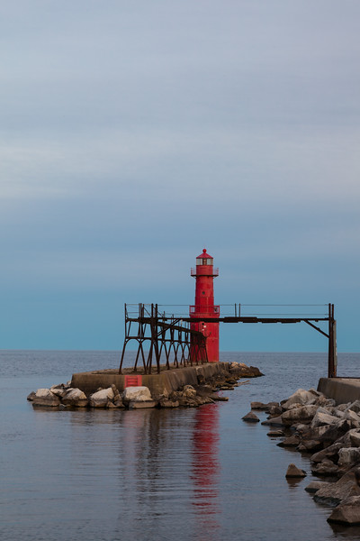The Algoma Light watches over the peaceful Lake Michigan waters. Algoma, WI<br /> <br /> WI-100515-0260