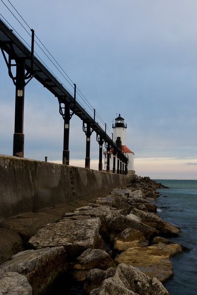 Michigan City Light at sunrise. Michigan City, IN<br /> <br /> IN-081026-0011