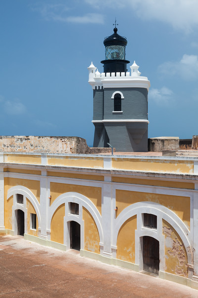 View of the courtyard and lighthouse at El Morro. San Juan, PR<br /> <br /> PR-090804-0095
