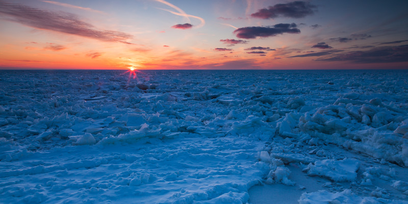 In the winter months Lake Michigan can become unrecognizable. What once was a large body of water can become a sea of ice. St. Joseph, MI<br /> <br /> MI-090125-0176