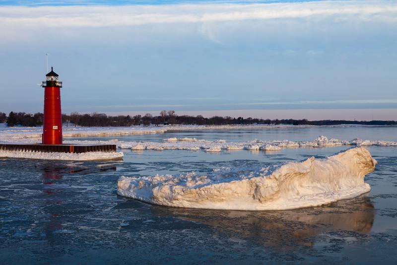 An iceberg floats near the entrance of the Kenosha channel. Kenosha, WI<br /> <br /> WI-110205-0068