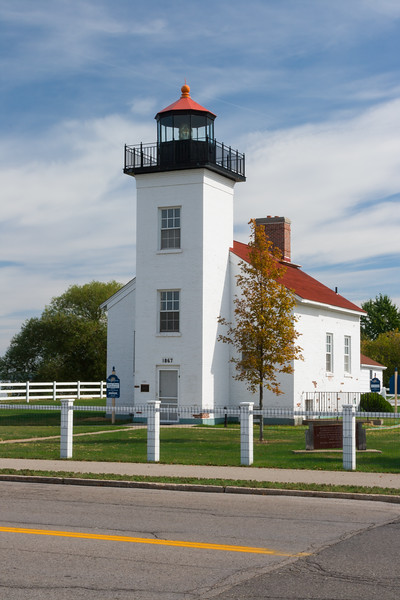 Street view of Sand Point Lighthouse. Escanaba, MI<br /> <br /> MI-080925-0045