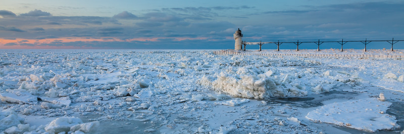 View of the St. Joseph Lights from across the channel. St. Joseph, MI<br /> <br /> MI-090125-0182