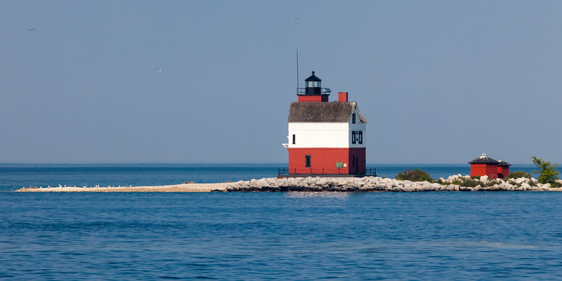 Round Island Lighthouse as seen from the Mackinac Island ferry. Round Island, MI<br /> <br /> MI-090623-0023