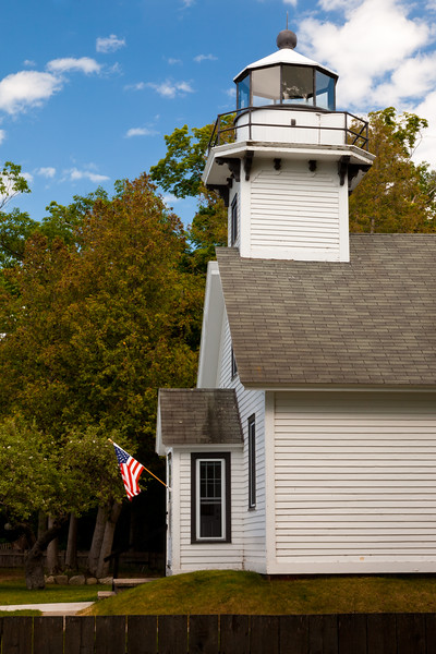 The OId Mission Point lighthouse, built in 1870, is located halfway between the North Pole and Equator. Its light was estinguished in 1933. Old Mission Point Peninsula, MI<br /> <br /> MI-090625-0048