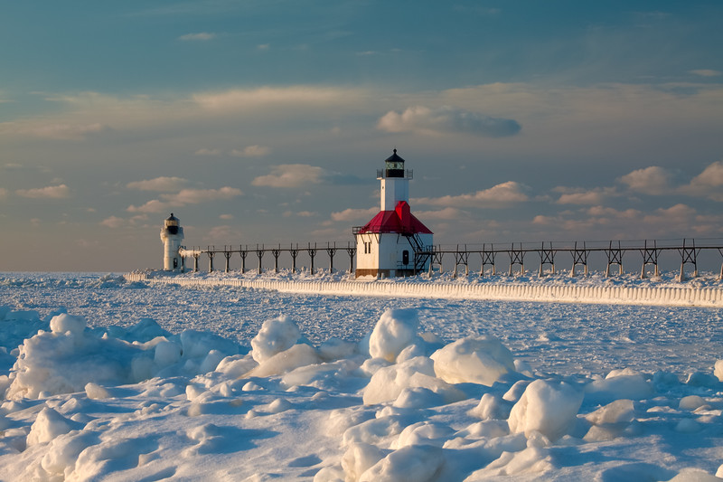 Clumps of ice cover the St. Joseph south channel pier. St. Joseph, MI<br /> <br /> MI-090125-0147
