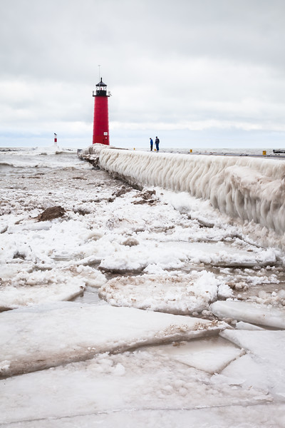 Ice flows stand where once the lake met the beach. Kenosha, WI<br /> <br /> WI-100124-0037