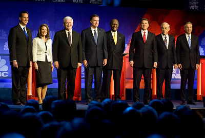 Candidates line up at the start of a republican presidential debate at Oakland University in Rochester, Michigan on Nov 9, 2011.