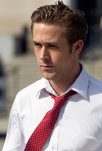 "Ryan Gosling walks from his trailer the the set of ""The Ides of March"" in downtown Ann Arbor, Michigan on March 17, 2011.  Gosling's character in the movie is Stephen Myers.  (Photo by Mark Bialek)"