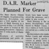 Newspaper Article-DAR Marker Planned For Grave