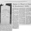 Newspaper Article-Marker Is Placed at Grave of Revolutionary Soldier
