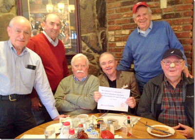 Class of '57: Alec Clerihew, Bob Groesbeck, Jack Savage, Kevin Collins, Pat Downes, and Pete MacIsaac