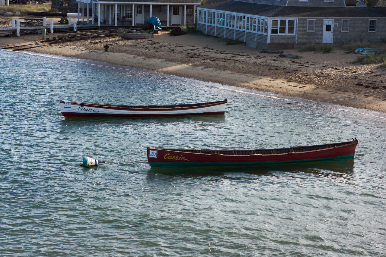 Rowboats moored by the shore.