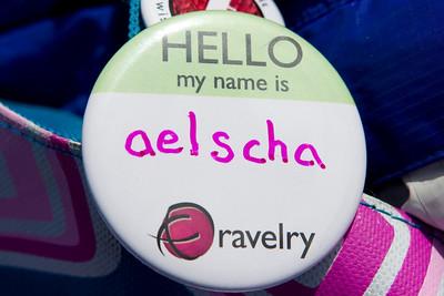 Abby's ravelry username on her knitting bag.