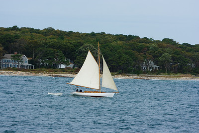 "Gaff rigged sailboat ""Liberty"" near the shore of Martha's Vineyard."