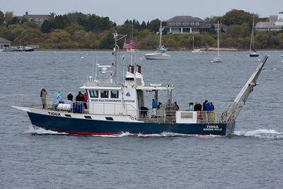 We saw a WHOI vessel leave while waiting for the ferry to depart.